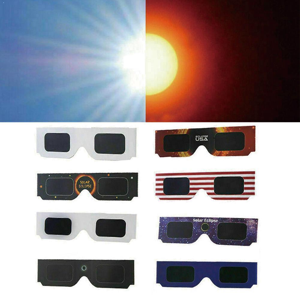 10 шт., бумажные солнечные очки полного затмения в белой оправе