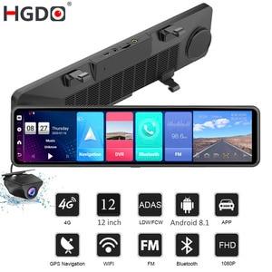 2020 HGDO 12'' 4G Car DVR Android 8.1 ADAS Rear View Mirror Camera FHD 1080P WiFi GPS Dash Cam Registrar Video Recorder 2G+32G