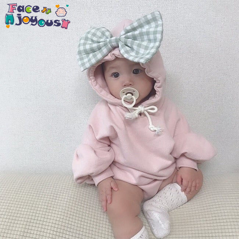 Newborn Baby Infant Girl Boy Winter Hooded Romper Outfit Baby Boys Girls Big Bow Rompers Infant