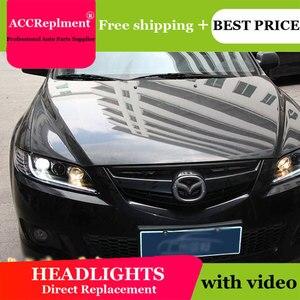 Image 1 - Cho Mazda6 2003 2014 Đèn Pha Tất Cả Các Đèn Pha LED DRL Năng Động Tín Hiệu Giấu Đầu Đèn Bi Xenon Tia Phụ Kiện Ô Tô tạo Kiểu Tóc