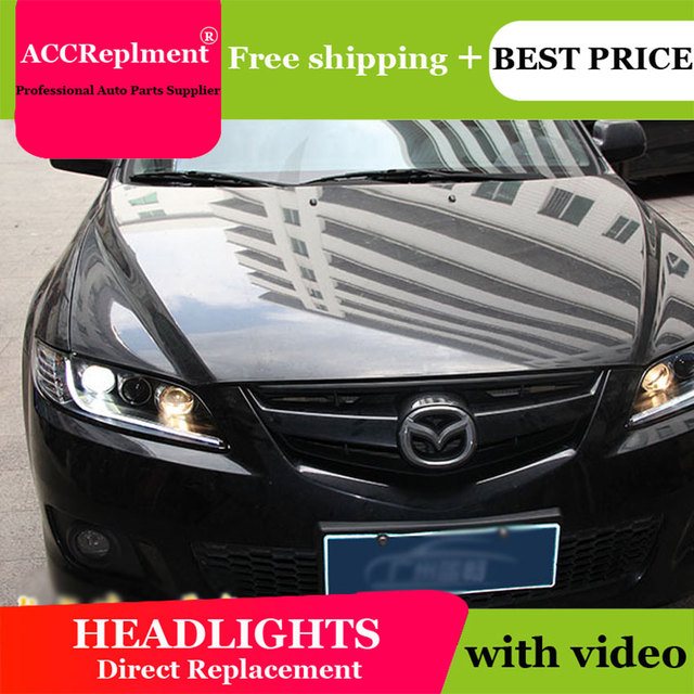 Cho Mazda6 2003 2014 Đèn Pha Tất Cả Các Đèn Pha LED DRL Năng Động Tín Hiệu Giấu Đầu Đèn Bi Xenon Tia Phụ Kiện Ô Tô tạo Kiểu Tóc