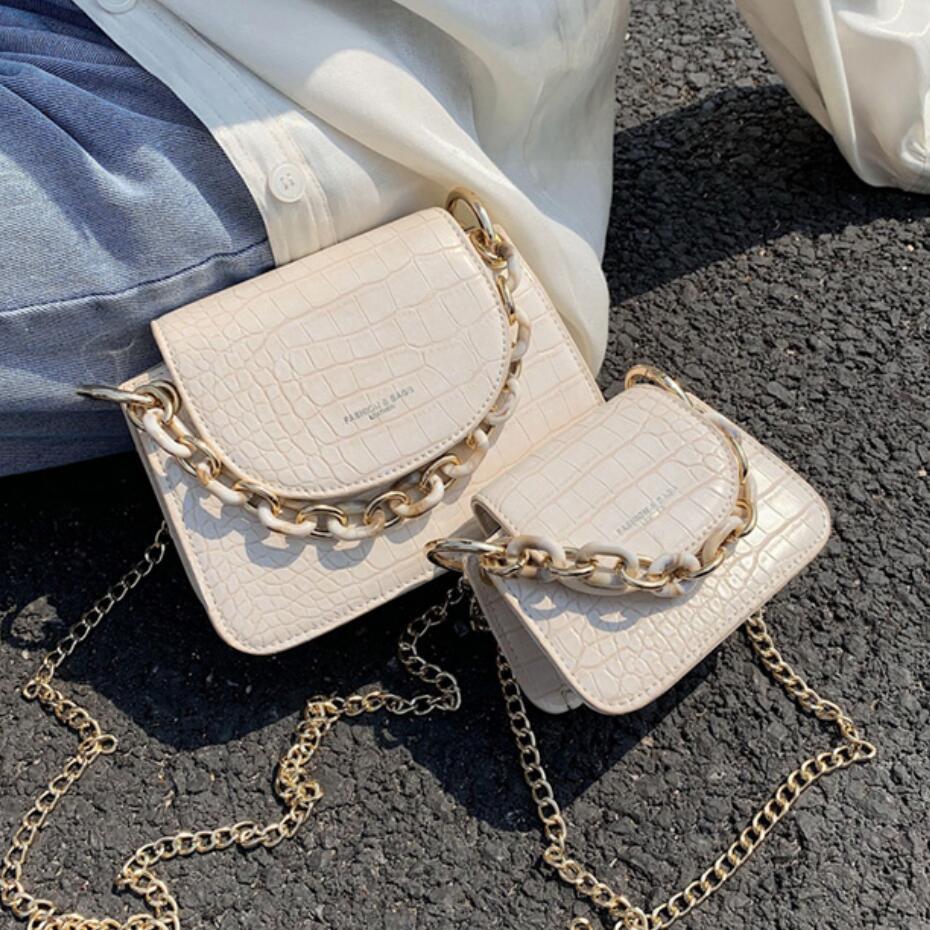 حجر نمط حقيبة حمل صغيرة 2020 صيف جديد جودة عالية بولي Leather جلد المرأة مصمم حقيبة يد سلسلة الكتف حقيبة ساعي|حقائب الكتف|   - AliExpress
