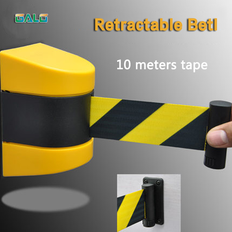 Max 10m <font><b>belt</b></font> length wall mounted retractable <font><b>belt</b></font> barrier with yellow / black striped caution <font><b>belt</b></font> for separated region image