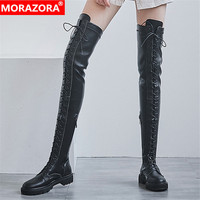 MORAZORA 2020 new arrive genuine leather over the knee boots fashion lace up round toe casual shoes autumn winter women boots