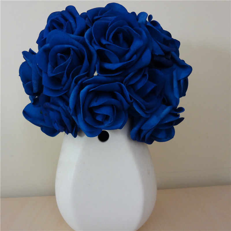 100x Artificial Flowers Royal Blue Roses For Bridal Bouquet