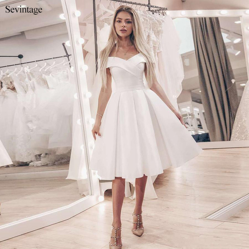 Sevintage Simple Off the Shoulder A-line Short Wedding Dresses Summer Beach Satin Bridal Gowns Knee-Length Bride Dress Customize