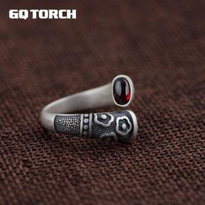 Image 1 - Gqtorch vitnage thai anel de prata 925 anéis de prata esterlina para as mulheres incrustado vermelho granada natural flor de pedra preciosa gravado grenat