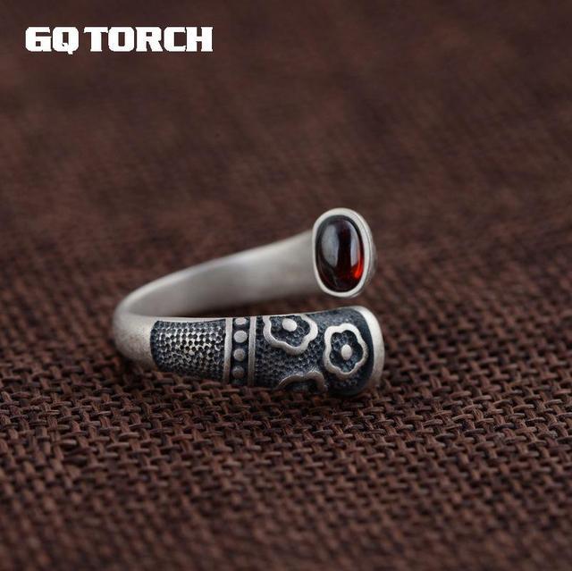 Gqtorch vitnage thai anel de prata 925 anéis de prata esterlina para as mulheres incrustado vermelho granada natural flor de pedra preciosa gravado grenat