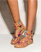Женские сандалии на плоской подошве с маленьким цветком красивые