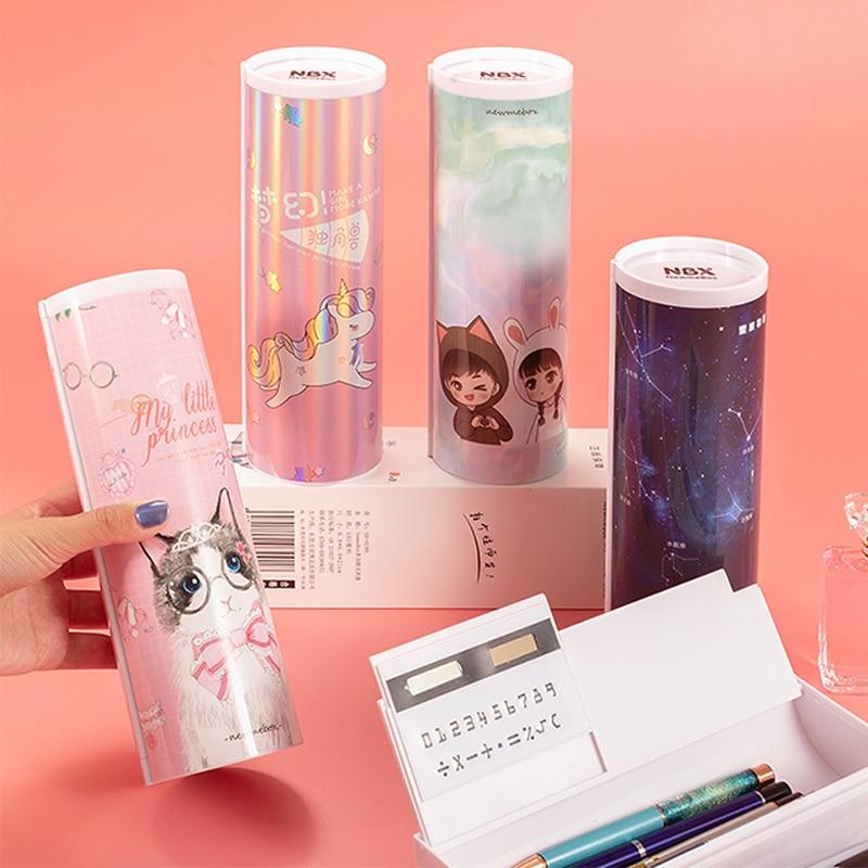 NBX Creative Whiteboard Pencil Case With Solar Calculator Magnetic Switch  Kawaii Cartoon Pen Box School Writing Case Pen Bag