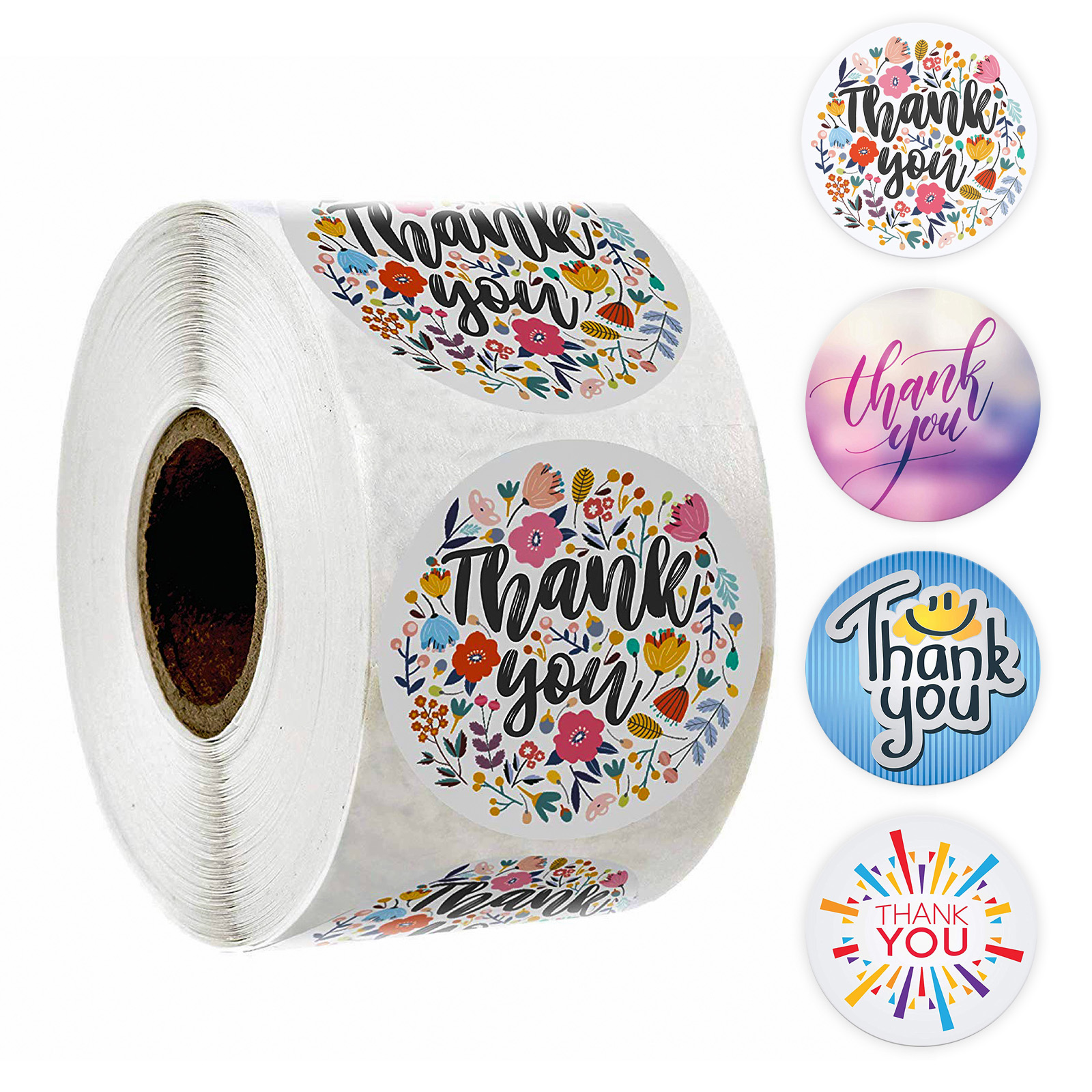 Thank You Sticker Seal Labels Round Multi Color Flower Design 500 Labels Sticker Per Roll For Cute Scrapbooking Stickers