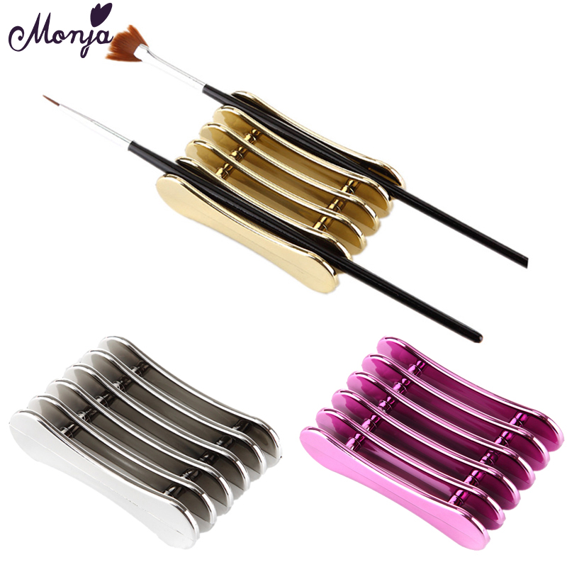 Monja 5 Grid Nail Art Penholder Nails Brush Rack Accessory Carving UV Gel Crystal Pen Carrier Storage Stand Holder Manicure Tool