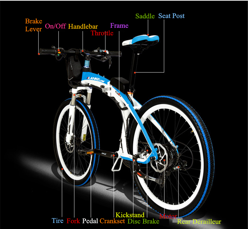Lankeleisi 189.47 electric bicycle, folding bicycle, 26 inches, 36/48 V, 240 W, disk brake, fast folding, mountain 15