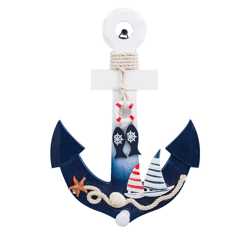Wood Anchor With Rope Nautical Boat Steering Rudder Wall Decor Door Hanging Ornament Nautical Marine Decoration