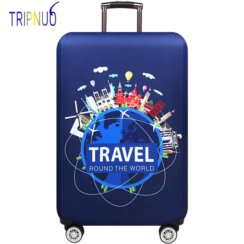 World Trip Luggage Suitcase Protective Cover Trolley Baggage Bag Cover Men's Women's Thick Elastic Case For Suitcase