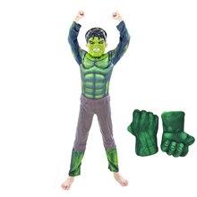 Ano novo carnaval verde gigante traje e luvas endgame traje muscular traje de halloween crianças meninos meninas crianças cosplay