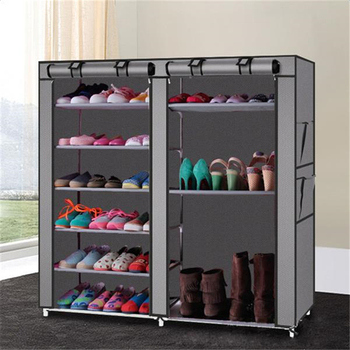 цена Non-woven Fabric Storage Shoe Rack Double Rows 9 Lattices Combination Style Shoe Cabinet Assemble Shoes Shelf DIY Home Furniture онлайн в 2017 году