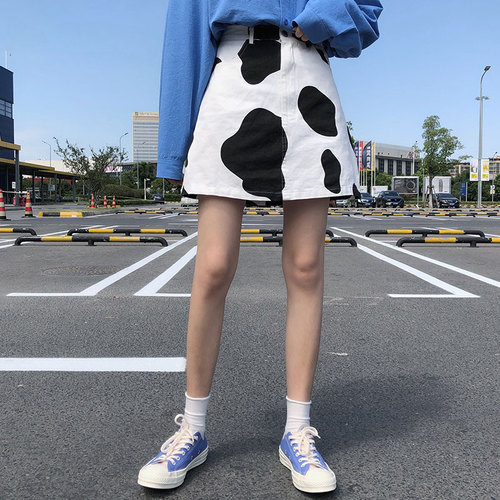 S-L Casual Black White Cow Skin Pattern High Waist Fashion Casual Loose Basic A-line Simple College Wind Mini Women Skirts