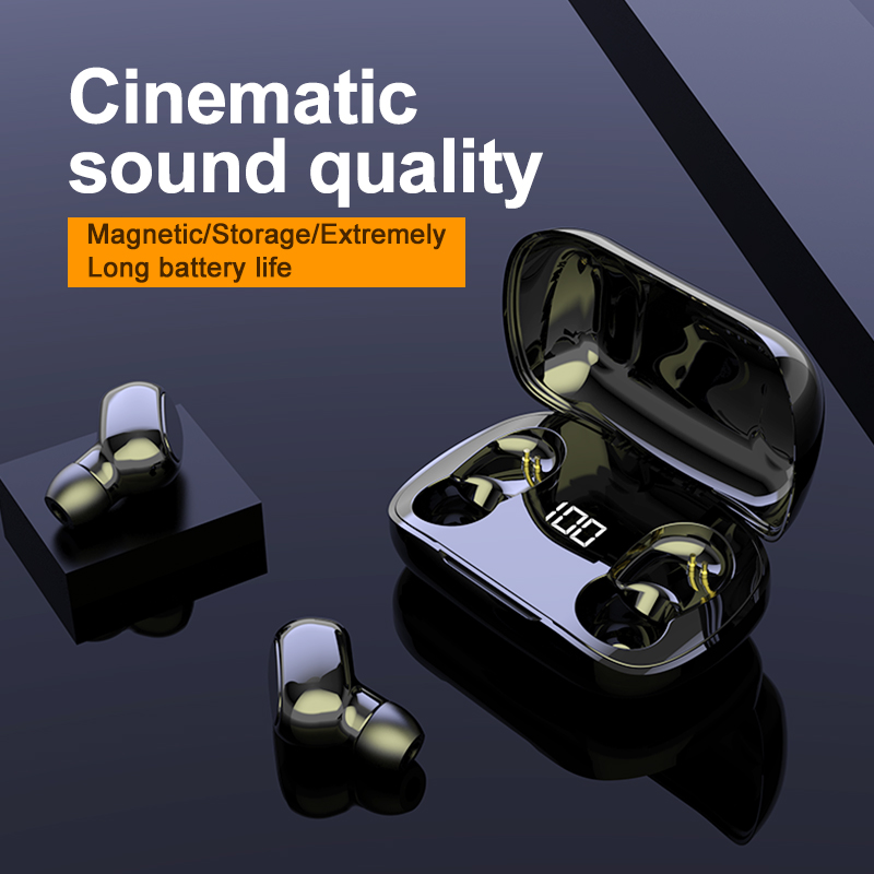 Bluetooth Wireless In-ear with Microphone Sports Waterproof Bluetooth Earphones HIFI Stereo Noise Cancelling Headset Earbuds