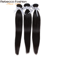 Rebecca Straight Hair Bundles Deals Peruvian 100% Human Weave 8 To 28 Inch Extensions