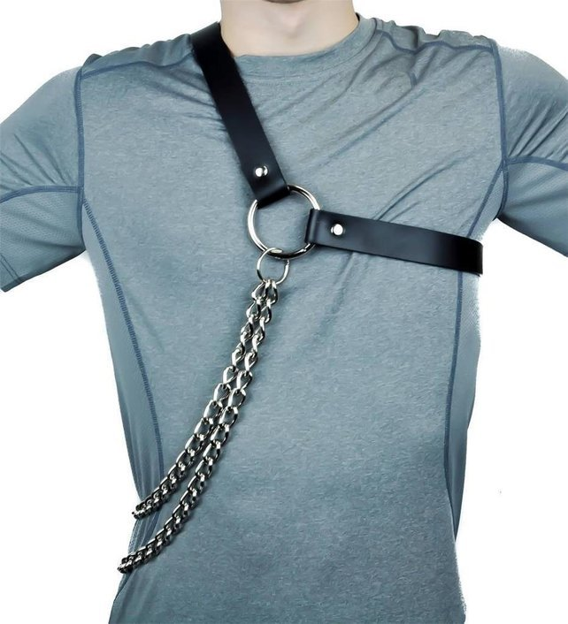 Fetish Men Gay Harness Sexy Leather Punk Body Bondage Man Exotic Metal Chain Tank Tops Straps Adjustable One Shoulders Lingerie