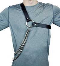 Fetish Men Gay Harness Sexy Leather Punk Body Bondage Man Exotic Metal Chain Tank Tops Straps Adjustable One Shoulders Lingerie()