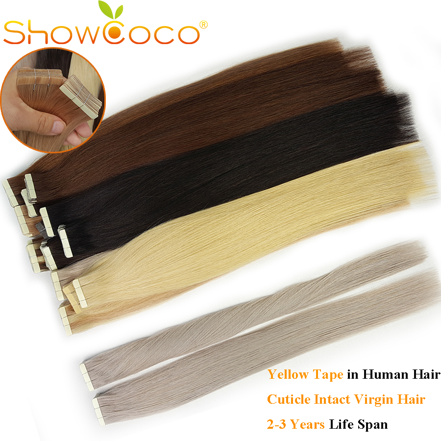 Showcoco Virgin Tape In Extensions Human Hair 10A Salon Quality One Donor Cuticle Aligned Hair Yellow Tape Skin Weft Hair Tape