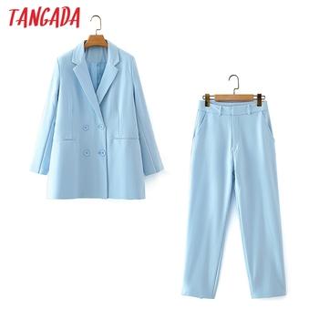 Tangada Tracksuit Sets Office Lady Work Women #8217 s Set Blue Blazer Pants Set 2021 Suit 2 Piece Set Coat and Pants DA74 tanie i dobre opinie CN (pochodzenie) Pełna długość COTTON POLIESTER z włókien syntetycznych 51 (włącznie)-70 (włącznie) Stałe REGULAR
