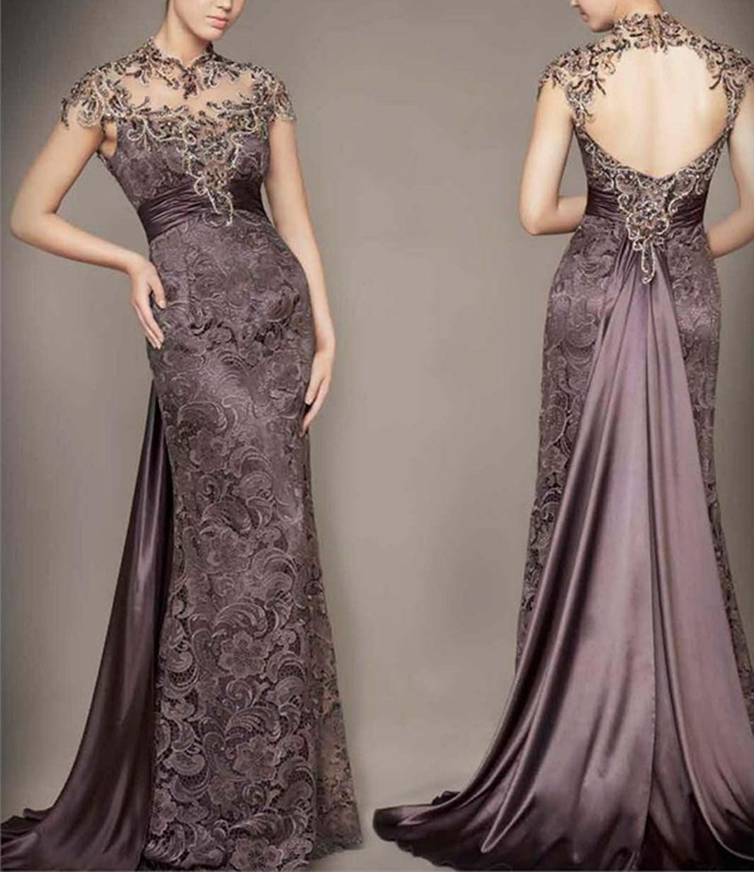 New arrival lace Evening Dresse Formal short sleeves vestido noiva sereia coffee prom party robe de soiree sexy V-opening back