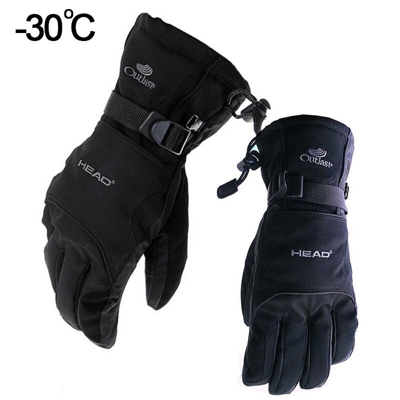 Лыжные перчатки Snow Head водонепроницаемые-30C градусов зимние теплые перчатки для сноуборда мужские и женские перчатки для мотокросса ветроза...