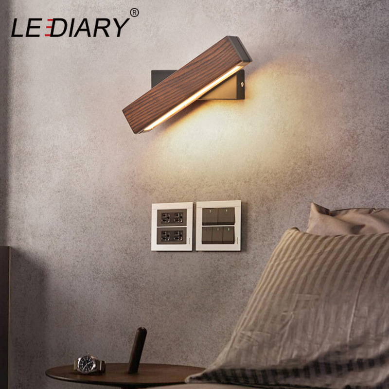 LEDIARY Nordic Living Room Wood Grain Wall Lamp 3 Emitting Color Change 110-240V Rotatable Wall Sconce Decoration Bedroom