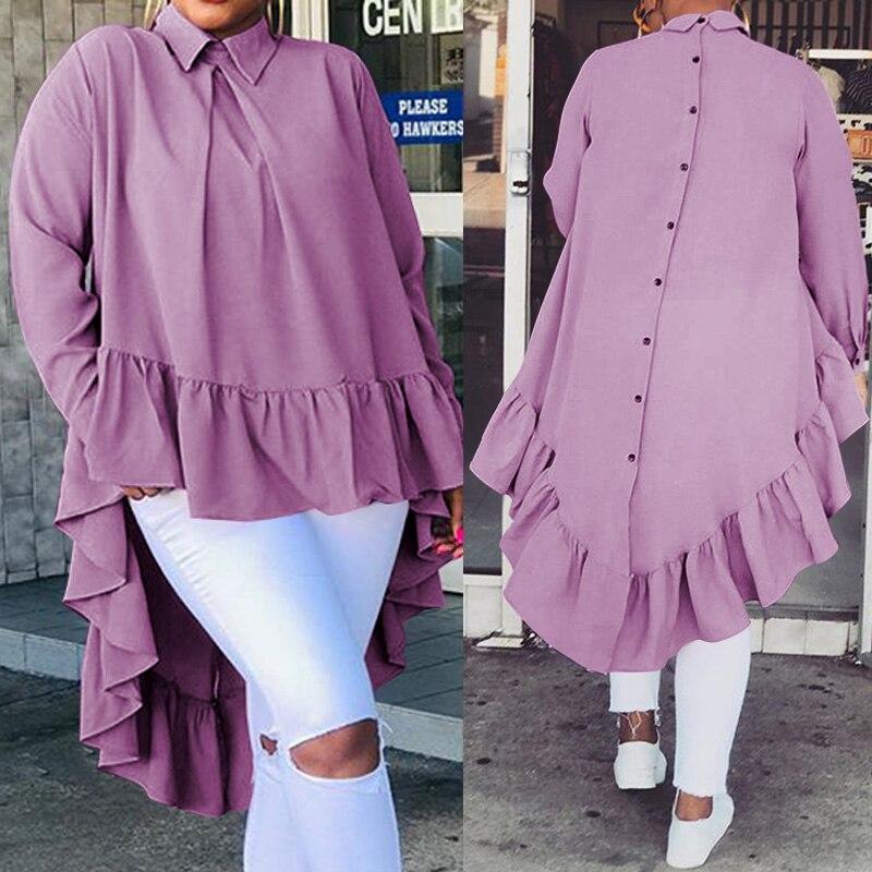Celmia Women Asymmetrical Tops 2020 Fashion Solid Back Buttons Ruffles Shirts Long Sleeve Lapel Casual Blouses Ladies Blusas 5XL