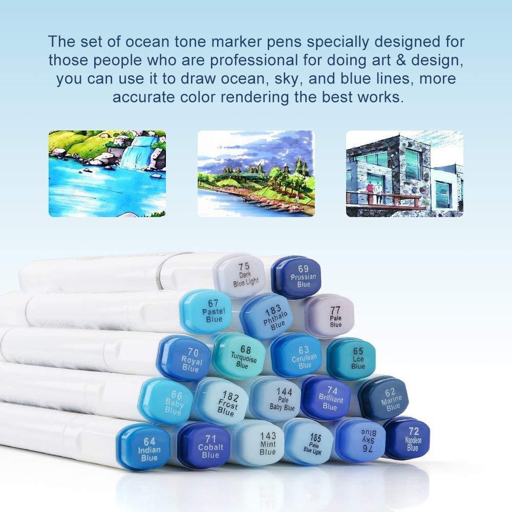 20 Colors TOUCHNEW 6 Marker Pens Sky Blue Series Color Blendable Alcohol Dual Tips For Art Sketch Ocean Landscape Design