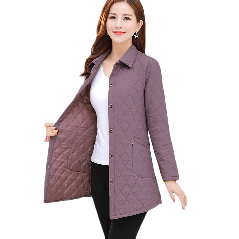 Spring And Autumn New Thin Down Jacket Women Loose Fashion Long Casual Cotton Jackets Womens Plus Size Parkas Shirt Top 5XL F859