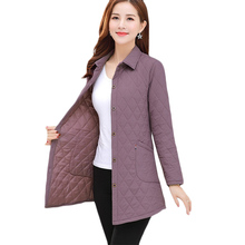 Spring and Autumn New Thin Down Jacket Women Loose Fashion Long Casual Cotton Jackets Womens Plus Si