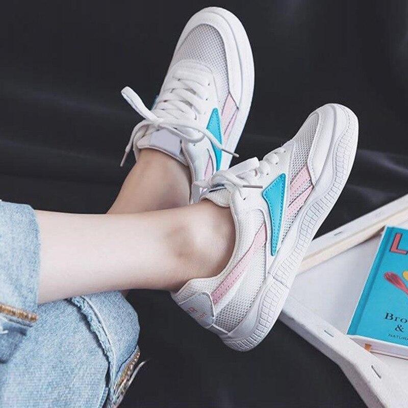2019 Fashion Women Blue Red Sneaker Tenis Feminino Lace Up Running Shoes Flat Sneakers 21818ASL3041