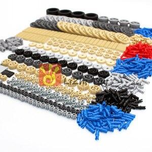 Image 3 - Piezas de construcción Technic de 638 Uds., estante de engranajes, accesorio de eje cruzado, juego de neumáticos de coche, Conector de camión, juguete mecánico MOC a granel