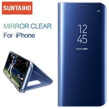Luxo espelho inteligente caso do telefone para o iphone xr xs max 11 7 8 mais suporte flip suporte capa de couro para iphone 11 pro x 6s 6 caso