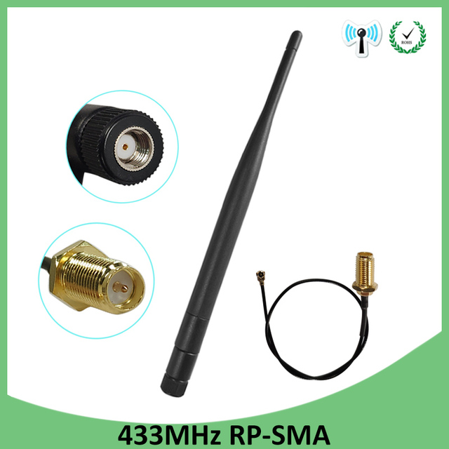 10pcs 433Mhz Antenna 5dbi RP SMA Connector Waterproof 433 MHz Directional Antena Rubber +21cm SMA Male /u.FL Pigtail Cable