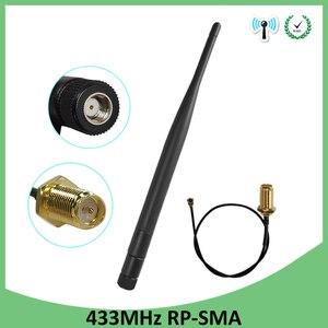 Image 1 - 433 Mhz אנטנת לורה 5dbi RP SMA מחבר עמיד למים 10pcs 433 MHz כיוונית Antena גומי + 21cm SMA זכר/u.FL צם כבל