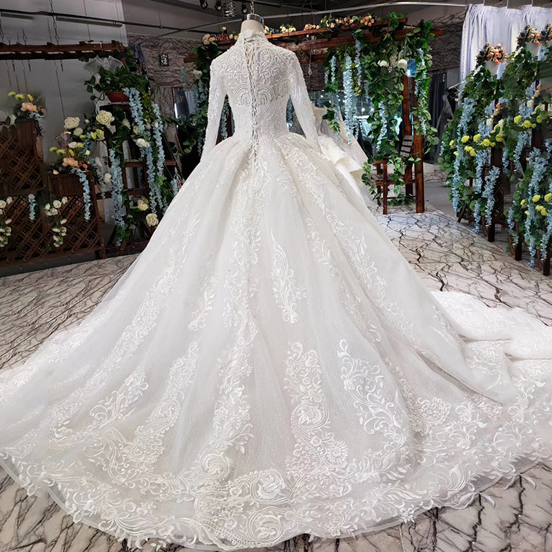 HTL490 Luxury Muslim Wedding Dresses 2021 Long Sleeves High Neck Lace Up Back Appliques Ball Gown Sequined