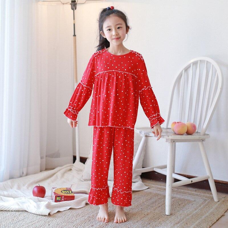 J4356 Spring Childrenswear Polka Dot Princess Pajamas Lace Tracksuit Girls Cotton Pastoral Style Two-Piece Pajamas