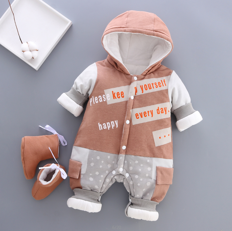 Newborn Baby Rompers Autumn Winter Girls Toddler Cotton Thick Velvet Cute Jumpsuits for Bebe Boys Infant Warm Overall Clothing | Happy Baby Mama