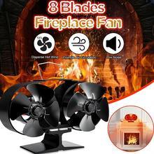 8-лезвия тепла питание газа дровяные воздушный поток вентилятора дома камин вентилятор для дерева/горелкой-Экологичные вентилятор для камина