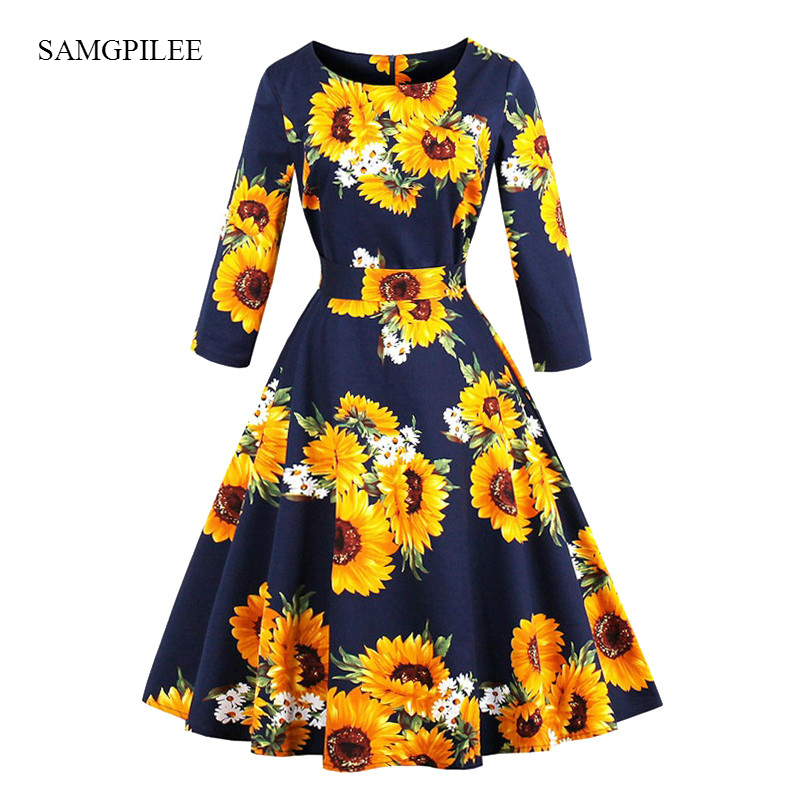 Samgpilee <font><b>Yellow</b></font> <font><b>Sunflower</b></font> A Line Vintage Cotton <font><b>Dress</b></font> Spring Autumn 3/4 Length Sleeve Women Elegant 1950s Floral <font><b>Dresses</b></font> image