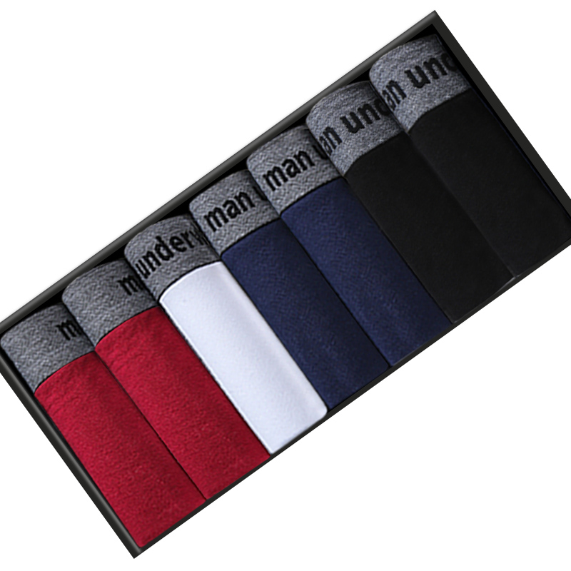Caleçon en coton respirant à motif uni pour homme, boxer, sous-vêtement, tissu souple