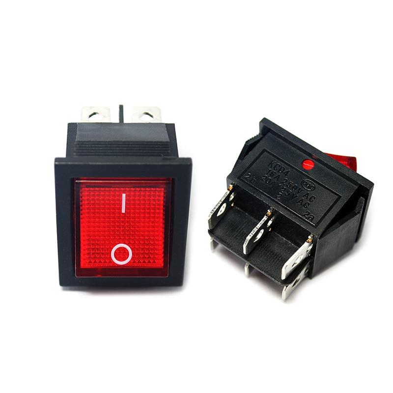 KCD4 клавишный переключатель ВКЛ-ВЫКЛ 2 Позиции 6 контактов с лампой 16 А 250 в 31x25 мм