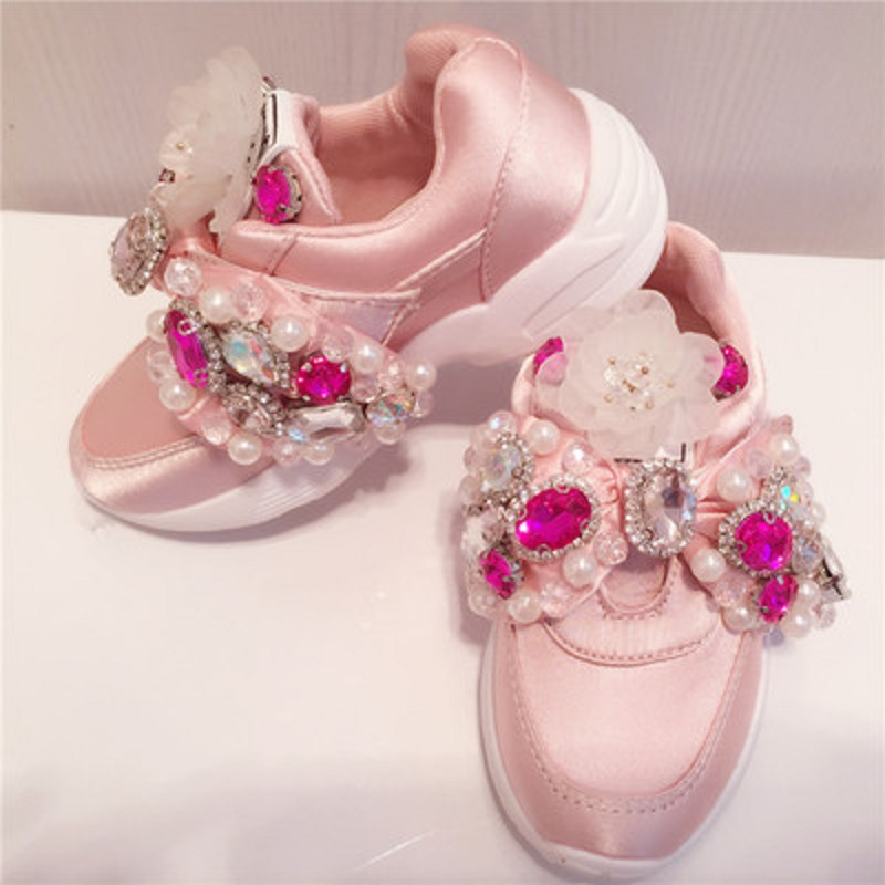 2019 Handmade Gemstone Rhinestone Women'S Sneakers Sequins Pearl Beaded Silk Big Bow Satin Parent Child Casual Sports Shoes(China)