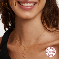 ROXI Romantic Gemstones Heart Pendant Necklaces for Women Girls Jewelry Gift 925 Sterling Silver Choker Clavicle Necklaces