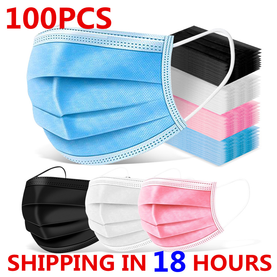 100 шт. одноразовая маска для лица с 3 слоями мелтдувного фильтра Личная безопасная дышащая маска для лица женские маски для рта Черный Синий Розовый|Маски|   | АлиЭкспресс